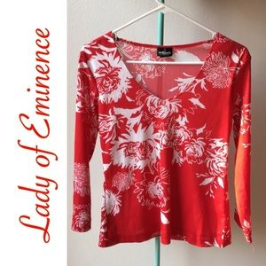 RED & WHITE FLORAL V-NECK BLOUSE